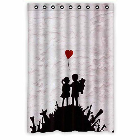 DEYOU Banksy Graffiti Love Story Shower Curtain Polyester Fabric Bathroom Size 48x72 Inches