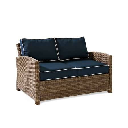 Crosley Furniture Bradenton Outdoor Wicker Loveseat With Navy Cushions