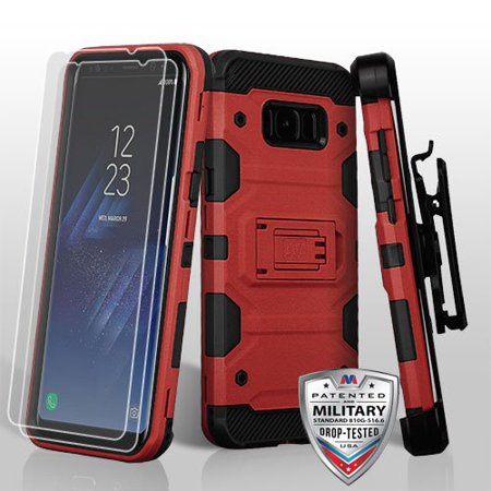 Twin Phone - Samsung Galaxy S8+, S8 Plus Case - Wydan Heavy Duty Shockproof Kickstand Holster Combo 3-in-1 Phone Cover w/ Twin Pack of Screen Protectors Red on Black