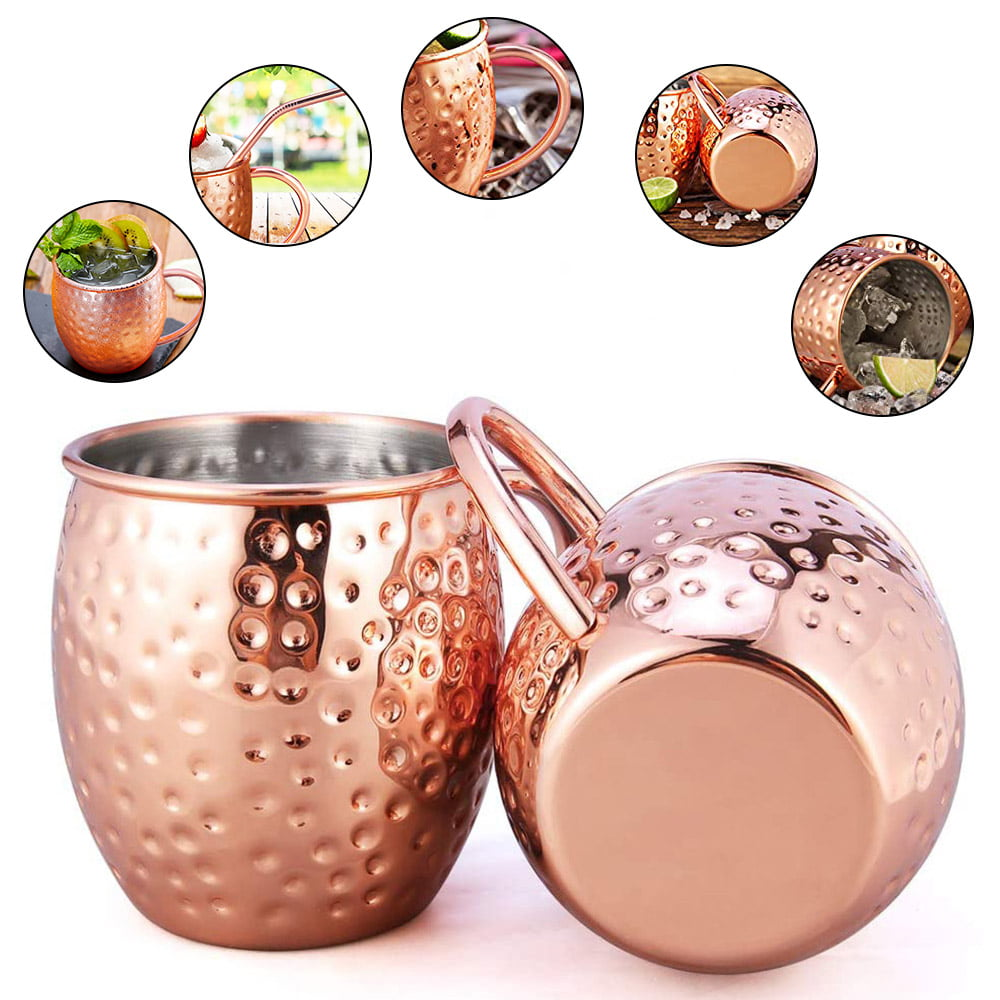 Moscow Mule Mugs Copper Cups Set Handcrafted Stainless Steel 20oz Straw Jigger Cocktail
