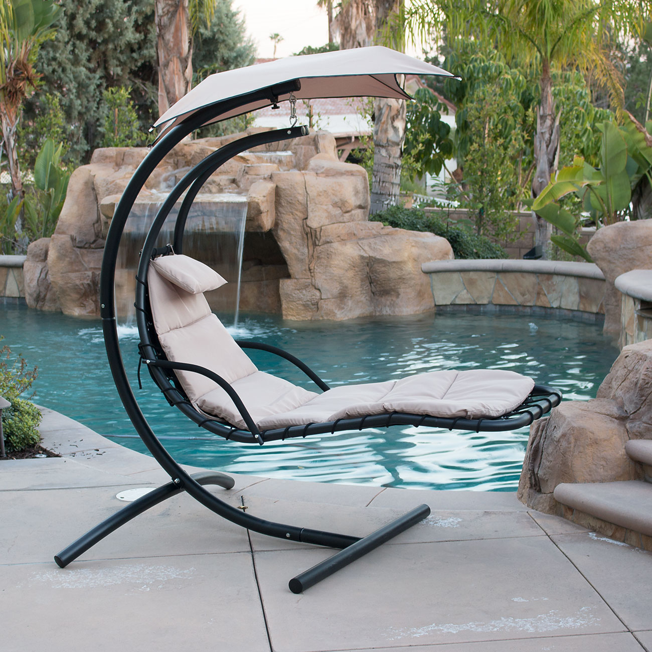 Belleze Hanging Chaise Beige Lounger Chair Arc Stand Canopy Air Porch Swing Hammock