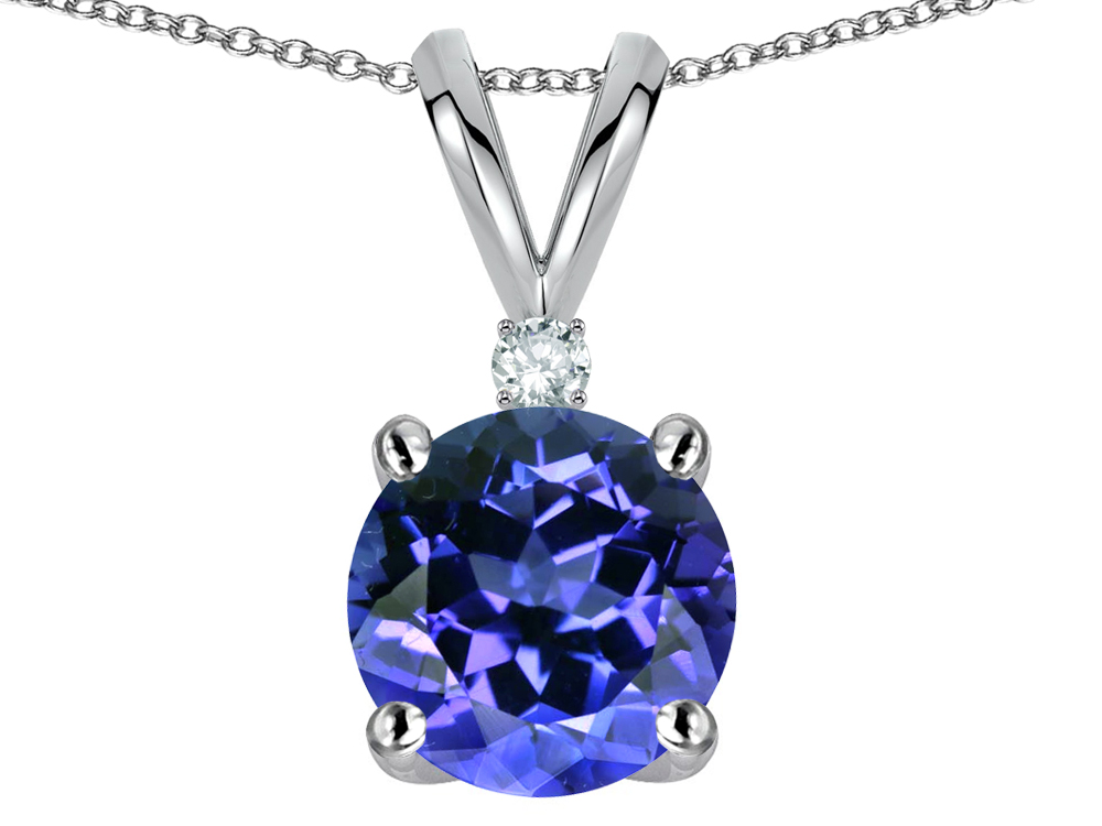 Star K Round 7mm Simulated Tanzanite Pendant Necklace in 14 kt White Gold by