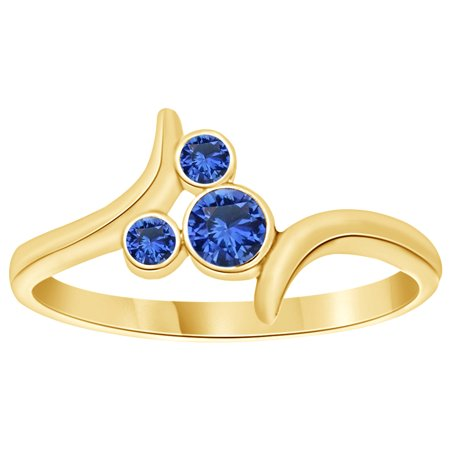 Simulated Sapphire pass Mickey Mouse Ring in 14k Yellow Gold Over Sterling Silver