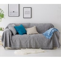Oversize Woven Cotton Sofa Throw Blanket Vintage Couch Bed Cover Tablecloth with Fringe (180x130cm/ 230x180cm )