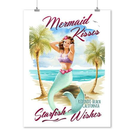 Redondo Beach, CA - Mermaid Kisses & Starfish Wishes - Watercolor - Lantern Press Artwork (9x12 Art Print, Wall Decor Travel (Beach Watercolor)