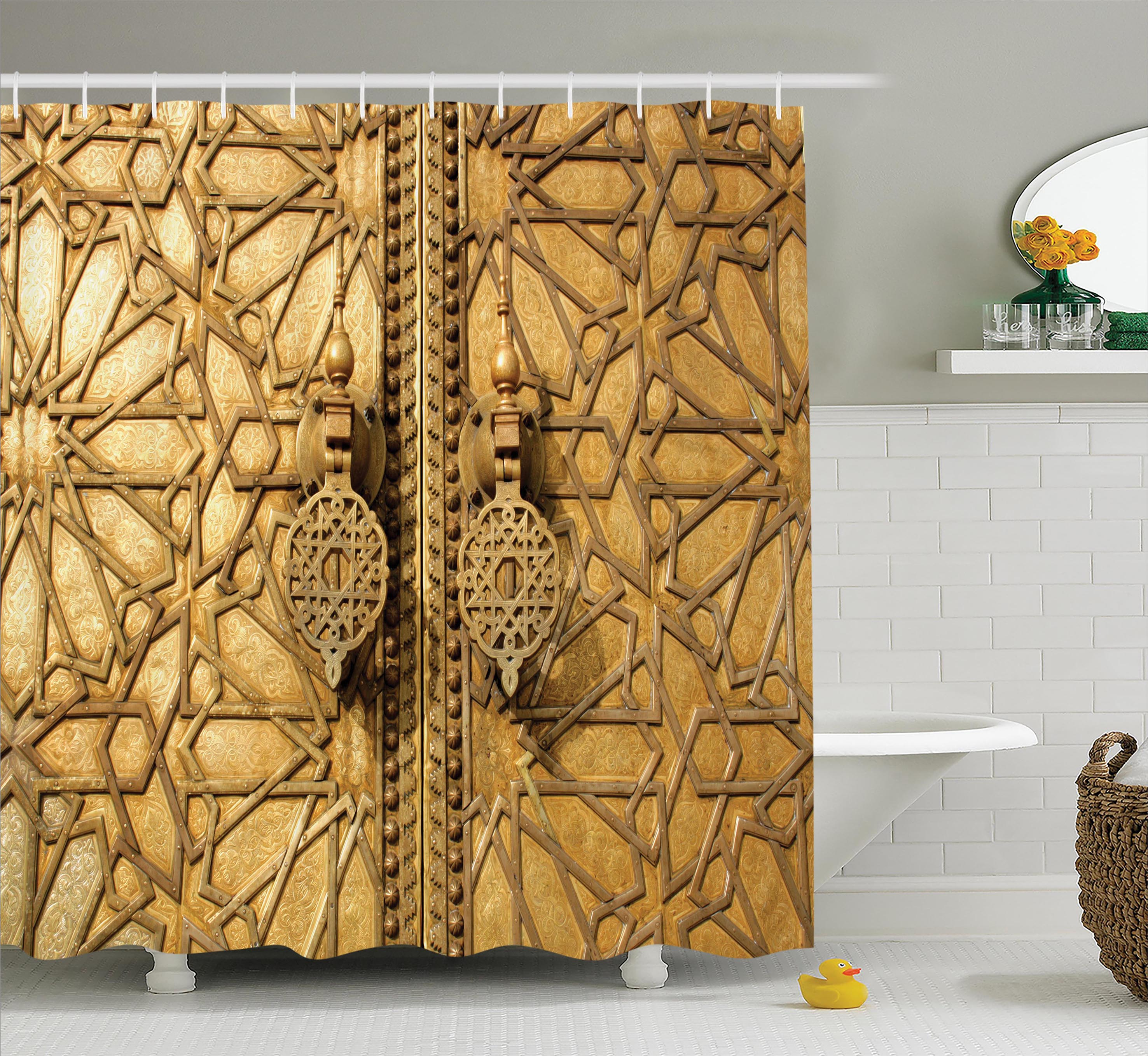 Moroccan Decor Shower Curtain Set, Main Golden Gates Of Royal Palace In Marrakesh, Morocco Travel Tourist Attraction, Bathroom Accessories, 69W X 70L Inches, By Ambesonne