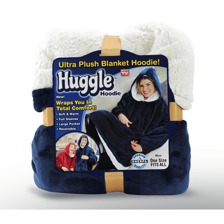 Tv Fleece Deken.Huggle Hoodie Ultra Plush Hooded Blanket Robe Premium Fleece Blue As Seen On Tv