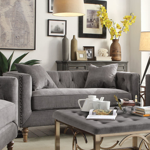 ACME Sidonia Down Feather Filled Loveseat with 2 Pillows, Grey Velvet by Acme Furniture