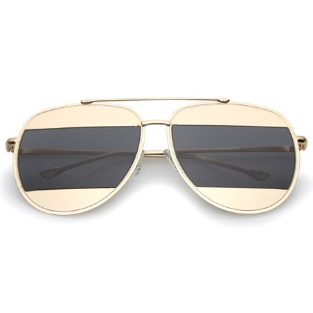 sunglassLA - Two-Toned Metal Thin Temple Brow Bar Color Split Lens Aviator Sunglasses 57mm - 62mm