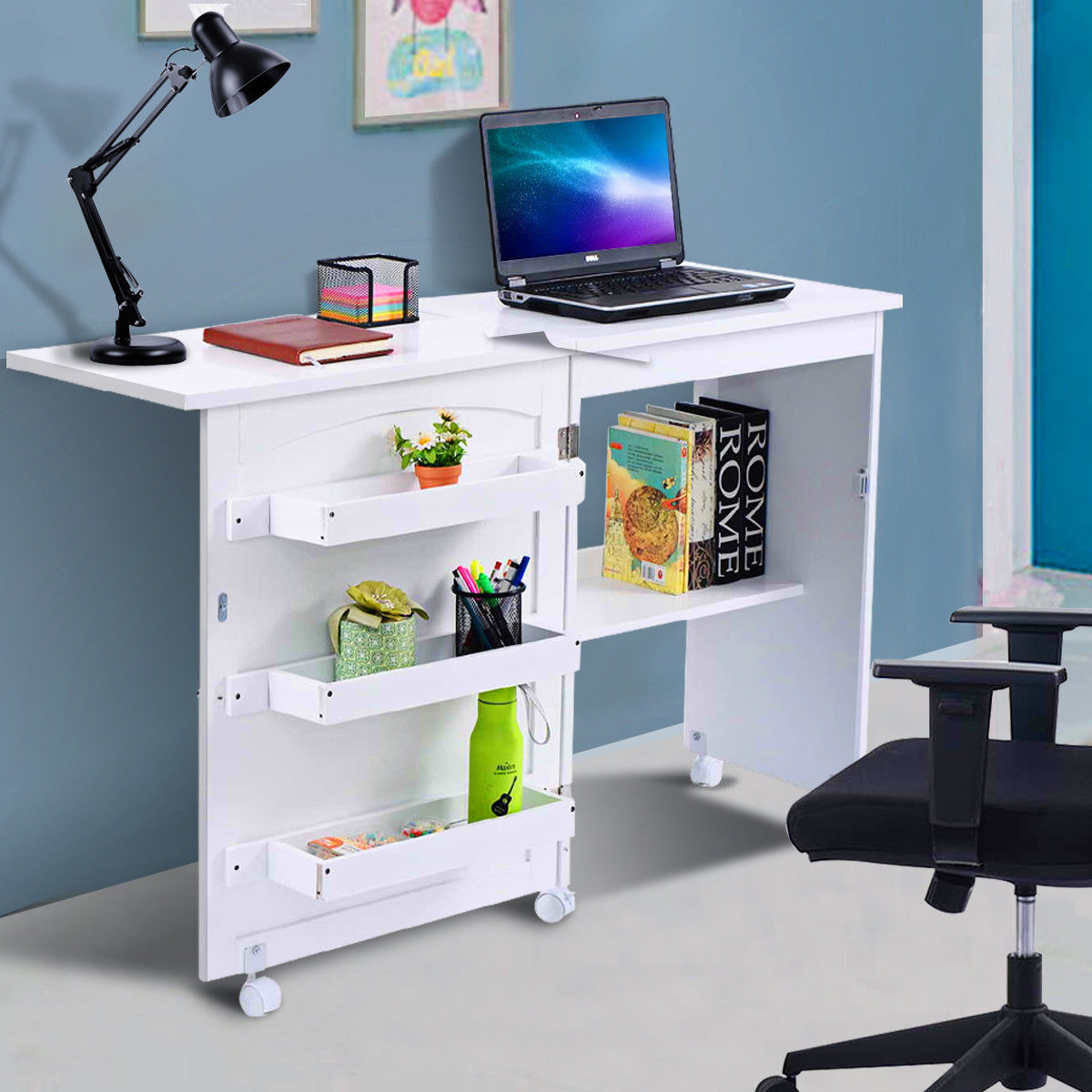 Costway White Folding Swing Craft Table Shelves Storage Cabinet Home Furniture W Wheels Walmart Com Walmart Com