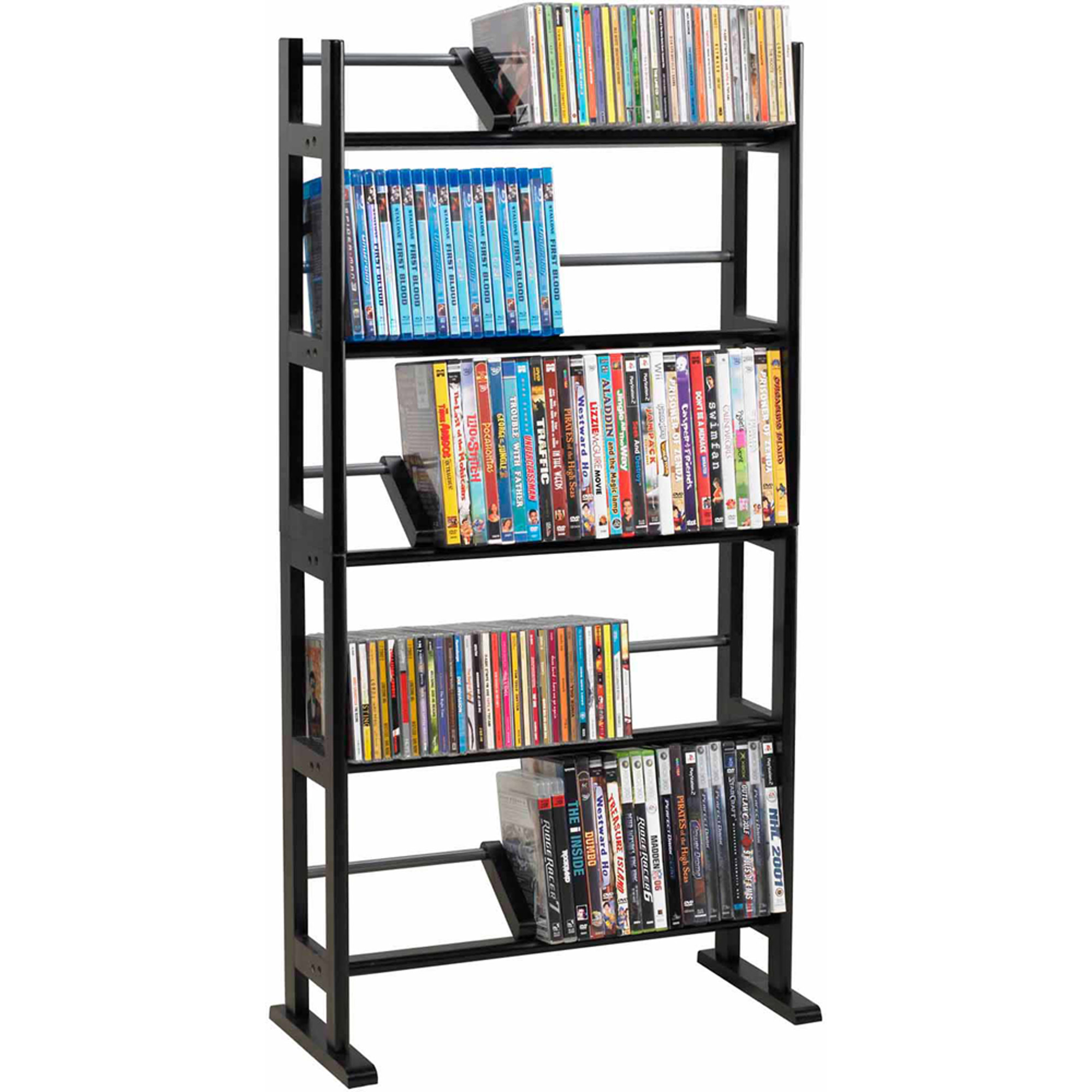 atlantic furniture element media rack espresso broadway locking dvd cd