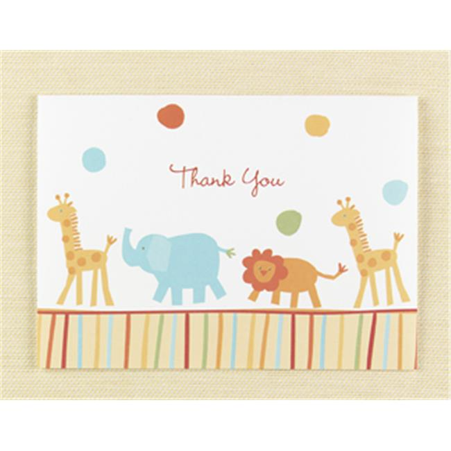 WMU 374687 4 7/8'' x 3 1/2''.  25 ct Jungle Animals Thank You Cards