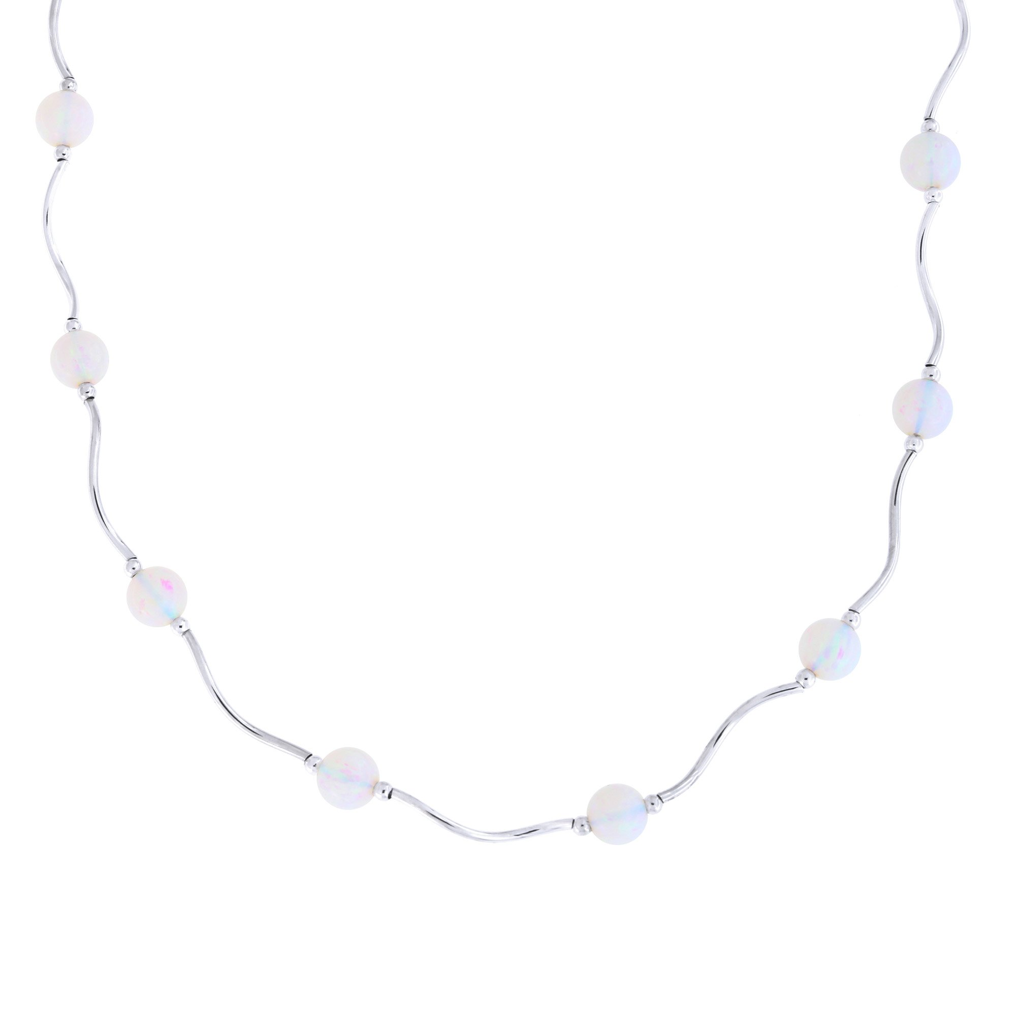 Sterling Silver Rhodium Plated 6mm Simulated White Opal Station Necklace, 17.5 inches by