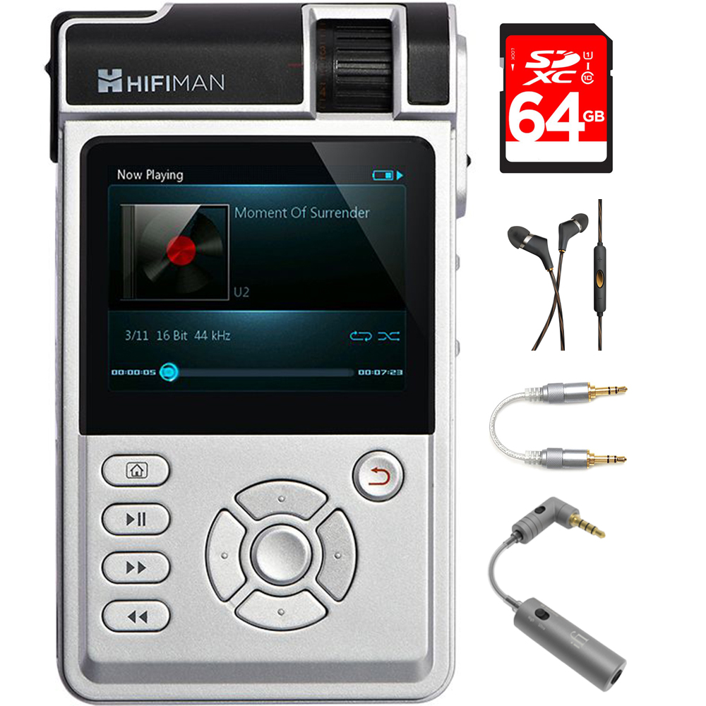 HIFIMAN High Fidelity Portable Music Player with Standard Amp Card (HM650) with 64GB Memory Card, In-Ear Headphone, 3.5mm-to-3.5mm Straight Stereo Audio Cable & Micro Headphone Matcher
