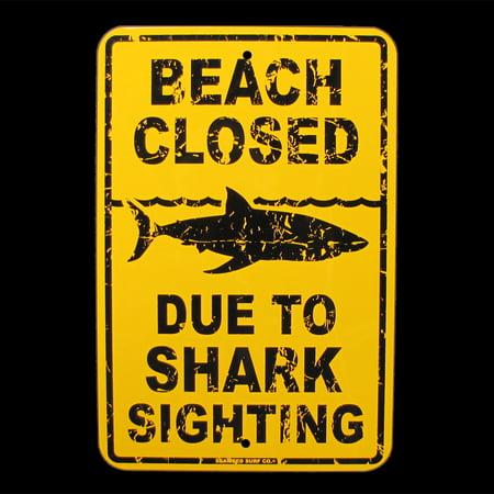 Tin SHARK SIGHTING BEACH CLOSED Surfer Warning Sign Bar/Pub/Surf Shop Wall Decor - Shark Decor