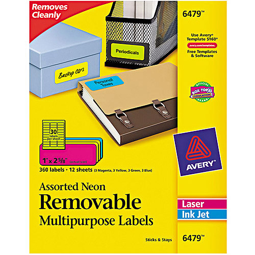 "Avery 6479 Removable Self-Adhesive Color-Coding Labels, Assorted Neon, 1"" x 2-5/8"", 360 Labels/Pack"