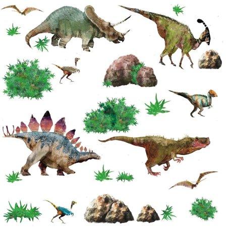 DINOSAURS 25 Wall Decals T-Rex Triceratop Dinosaur Stickers Boys Room Dino Decor