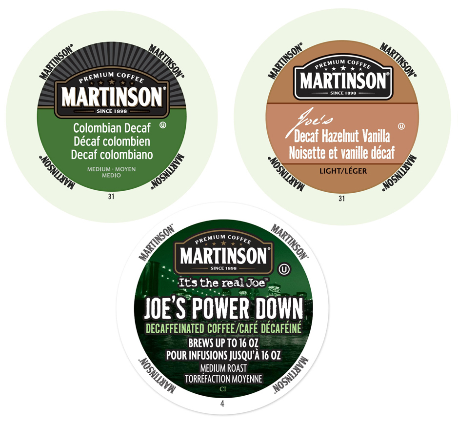 Martinson Decaf Collection of Flavored Coffees, the Same Power Packed Punch Without Any Caffeine, 72 Count