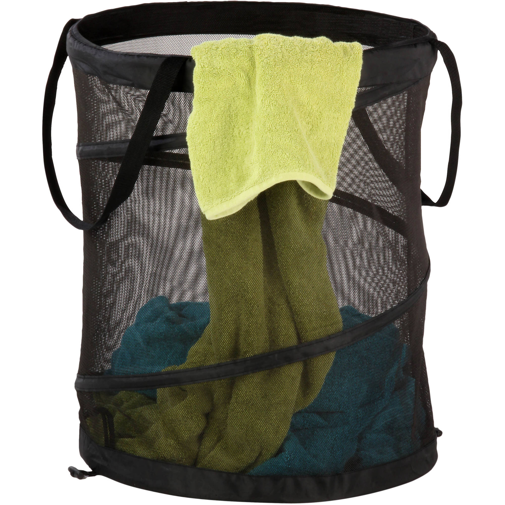 Honey Can Do Large Mesh Pop-Up Hamper with Handles, Multicolor