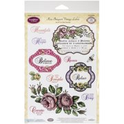 "JustRite Papercraft Clear Stamps 6""X8""-Rose Bouquet Vintage Labels Seven"