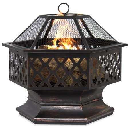 Basket Fire Pit (Best Choice Products 24in Hex-Shaped Steel Fire Pit Decoration Accent for Patio, Backyard, Poolside w/ Flame-Retardant Lid - Black)