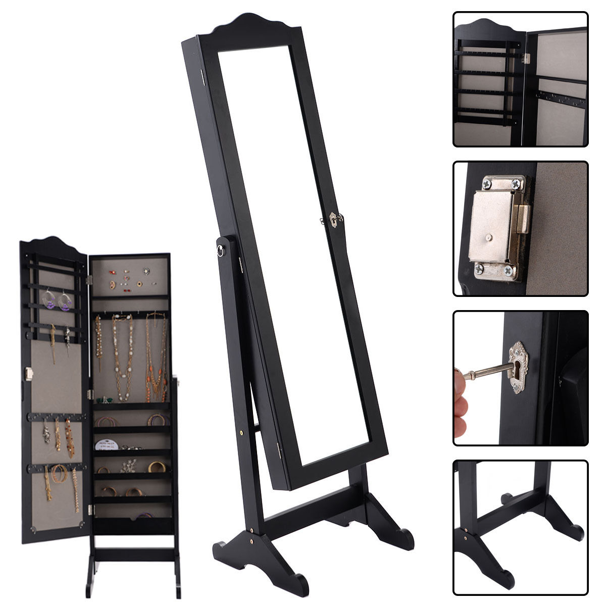 Costway Lockable Mirrored Jewelry Cabinet Armoire Mirror Organizer