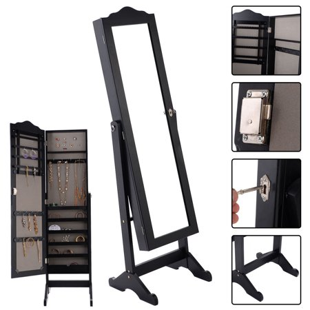 Costway Lockable Mirrored Jewelry Cabinet Armoire Mirror