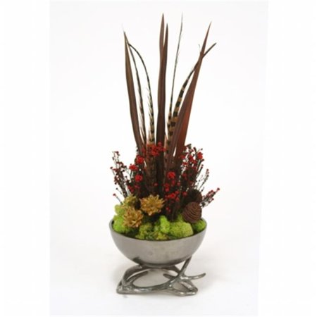 - Distinctive Designs 4803 Feathers Pods Plumosum Phylica & Feathers in Black Nickel Horn Bowl or Horn Base