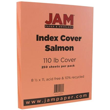"JAM Paper Premium Index Cardstock, 8.5"" x 11"", 110lb Salmon, 250 Sheets/Pack - Walmart.com"
