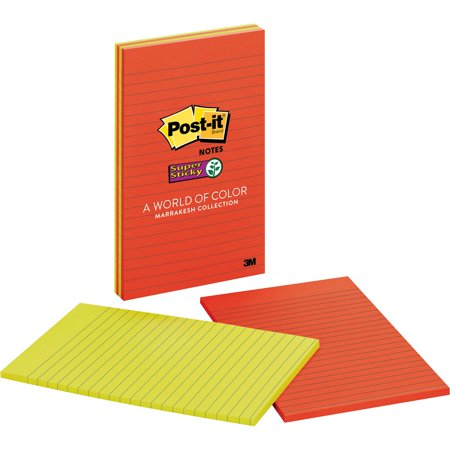 Post-it Notes Super Sticky Pads in Marrakesh Colors, Lined, 5 x 8, 45-Sheet, 4/Pack -MMM5845SSAN