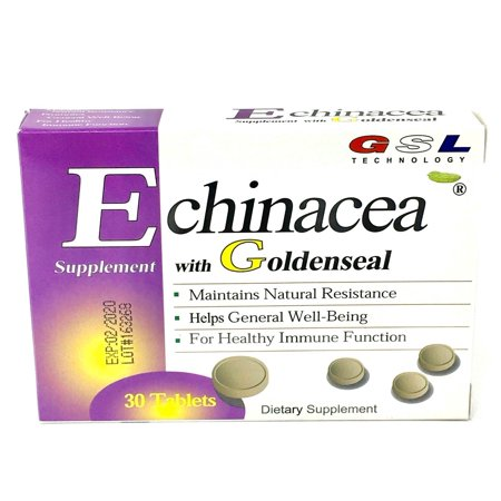 GSL ECHINACEA WITH GOLDENSEAL HEALTHY IMMUNE SUPPORT NATURAL RESISTANCE 30 TB