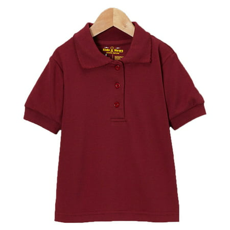 Boys girls burgundy button closure collar short sleeve Burgundy polo shirt boys