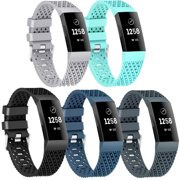 Moretek Replacement Watch Band for Fitbit Charge 3, Silicone Sport Wriststrap Accessories Multi-Color Women Men Bands for Fitbit Charge 3 (5pcs, L)