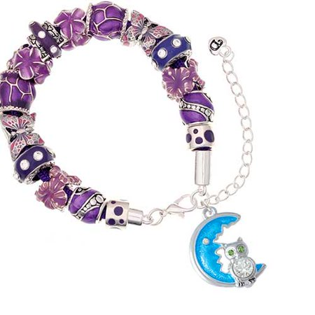 Silvertone Large Clear Crystal Owl on Hot Blue Moon Purple Butterfly Bead Bracelet (Owl Beaded Bracelets)