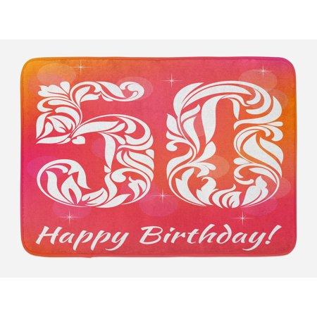 50th Birthday Bash (50th Birthday Bath Mat, Vibrant Backdrop Stylized Font Floral Swirls and Stars Artwork Print, Non-Slip Plush Mat Bathroom Kitchen Laundry Room Decor, 29.5 X 17.5 Inches, Pink Orange White,)