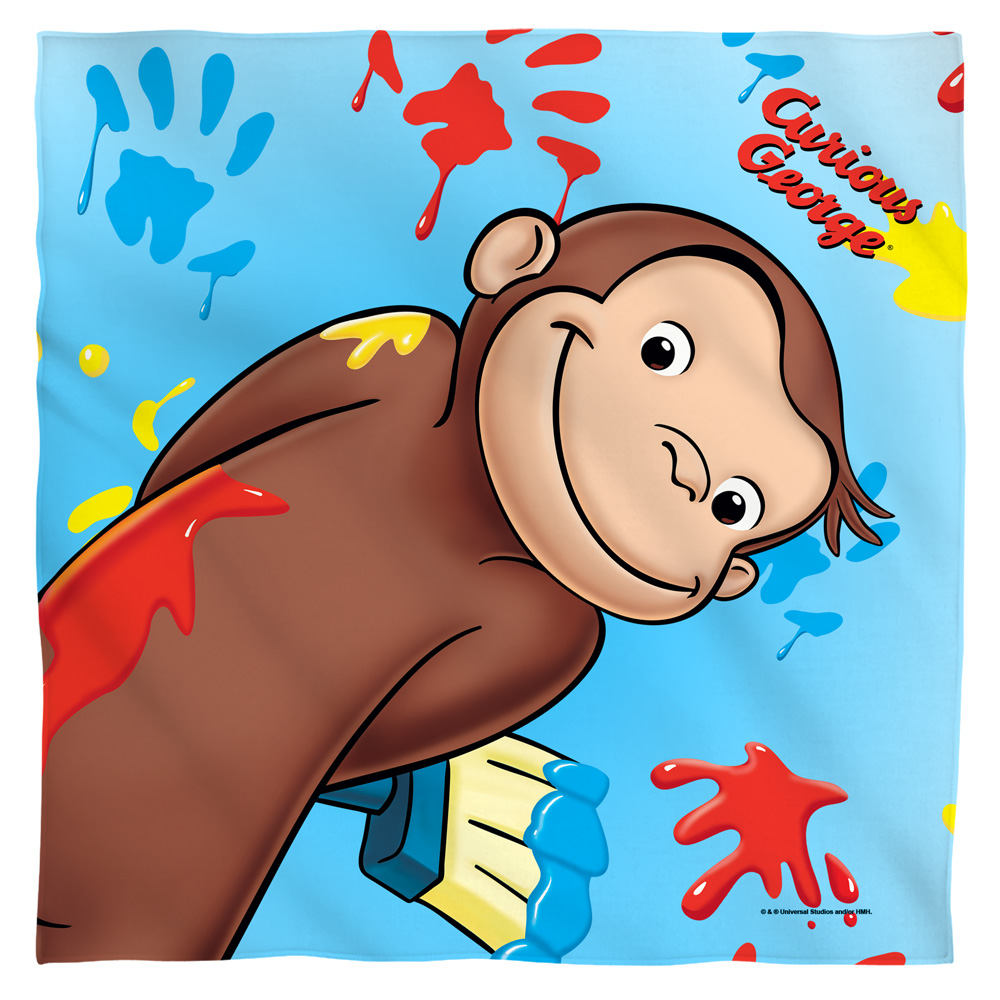 Curious George Paint Bandana White One Size