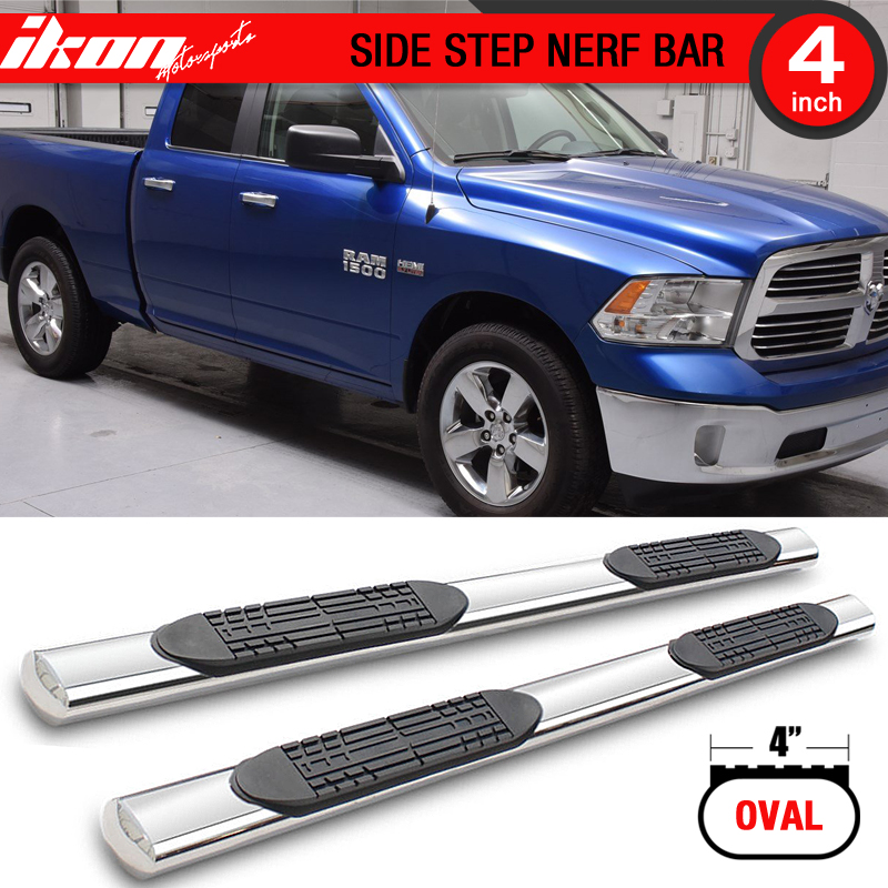 Ikon Motorsports Running Boards for 09-17 Ram 1500 Quad Cab 4 Inch Stainless Steel