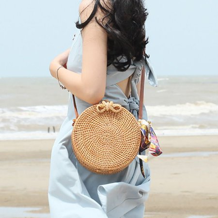Nicesee Fashion Women Handmade Rattan Woven Straw Bag Bamboo Handbag Beach Tote Bag (Light Non Woven Tote)