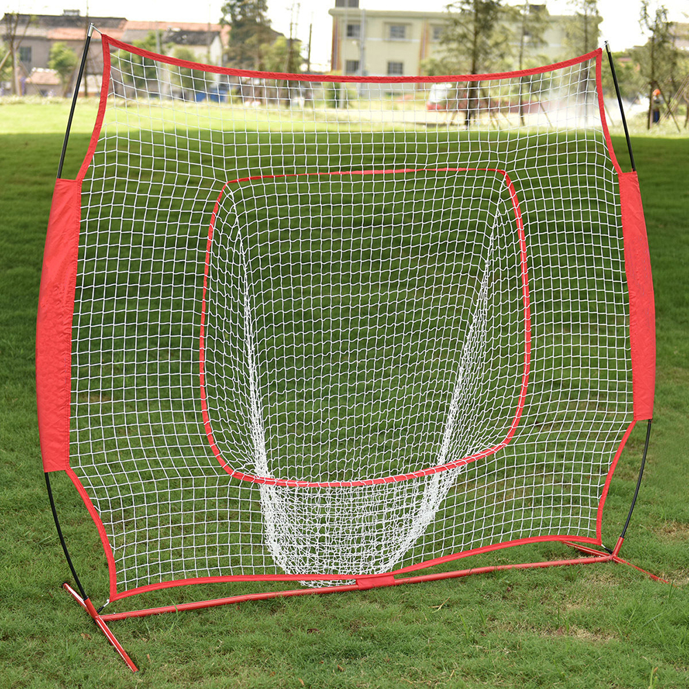 Zimtown 7' x 7' Baseball Hitting Practice Net with bow frame, for Softball Pitching Batting Catching, Backtop Screen Equipment Training Aids, Includes Carry Bag, Great for All Skill Levels,Red
