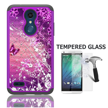 LG Phoenix Plus (AT&T), LG K30 (T-Mobile), LG Harmony 2, Dual Layer Crystal Cover Case for LG Premier Pro 4G LTE Prepaid Smartphone + Tempered Glass Screen Protector (Purple-purple butterfly)