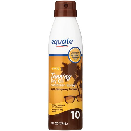 (2 pack) Equate Tanning Dry Oil Sunscreen Spray, SPF 10, 6 fl (Best Outdoor Tanning Spray)