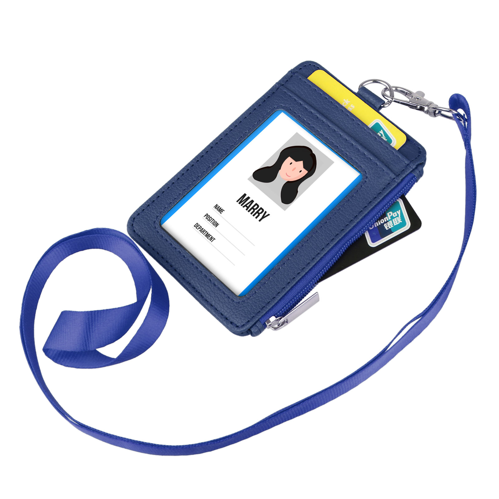 TSV Lanyard ID Badge Holder 2-Sided PU Leather Wallet Case w  ID Window 5 Card Slots by