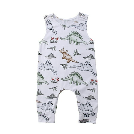Cute Newborn Baby Boy Toddler Dinosaur Romper Jumpsuit Playsuit Clothes Outfit Sleeveless