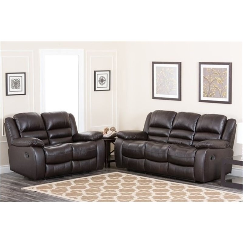 Bowery Hill 2 Piece Reclining Leather Sofa Set