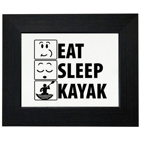 Iconic Eat Sleep Kayak Graphic Framed Print Poster Wall or Desk Mount Options