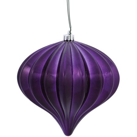 "Vickerman 5.7"" Plum Shiny Onion Ornaments with UV-Resistant Finish and Pre-Drilled Cap, Set of 3"