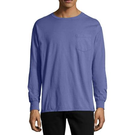 Hanes Men's and Big Men's ComfortWash Long Sleeve Pocket Tee, Up To Size