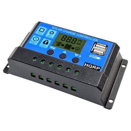 HQRP 10A Solar Battery Charge Controller / Power Regulator 10 Amp 12V / 24V w/ Dual USB and LCD Display plus HQRP UV Meter ()