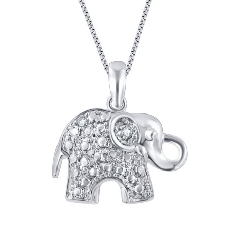 Silver Tone Elephant (Diamond Accent Silver Tone Over Brass Elephant Pendant)
