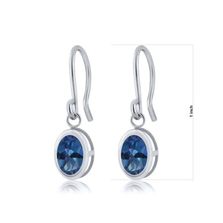 1.90 Ct Oval Royal Blue Mystic Topaz 925 Sterling Silver Fench Wire Earrings - image 1 de 4